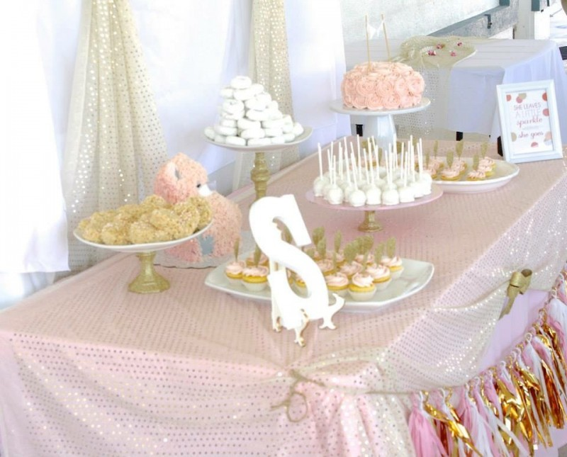 pink and gold baby shower - 800×645