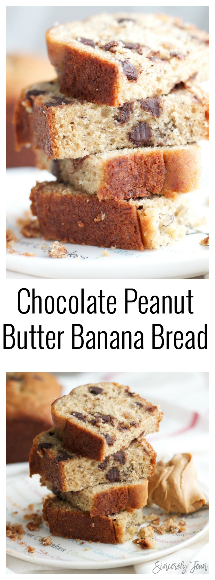 Chocolate Peanut Butter Banana Bread - Sincerely Jean