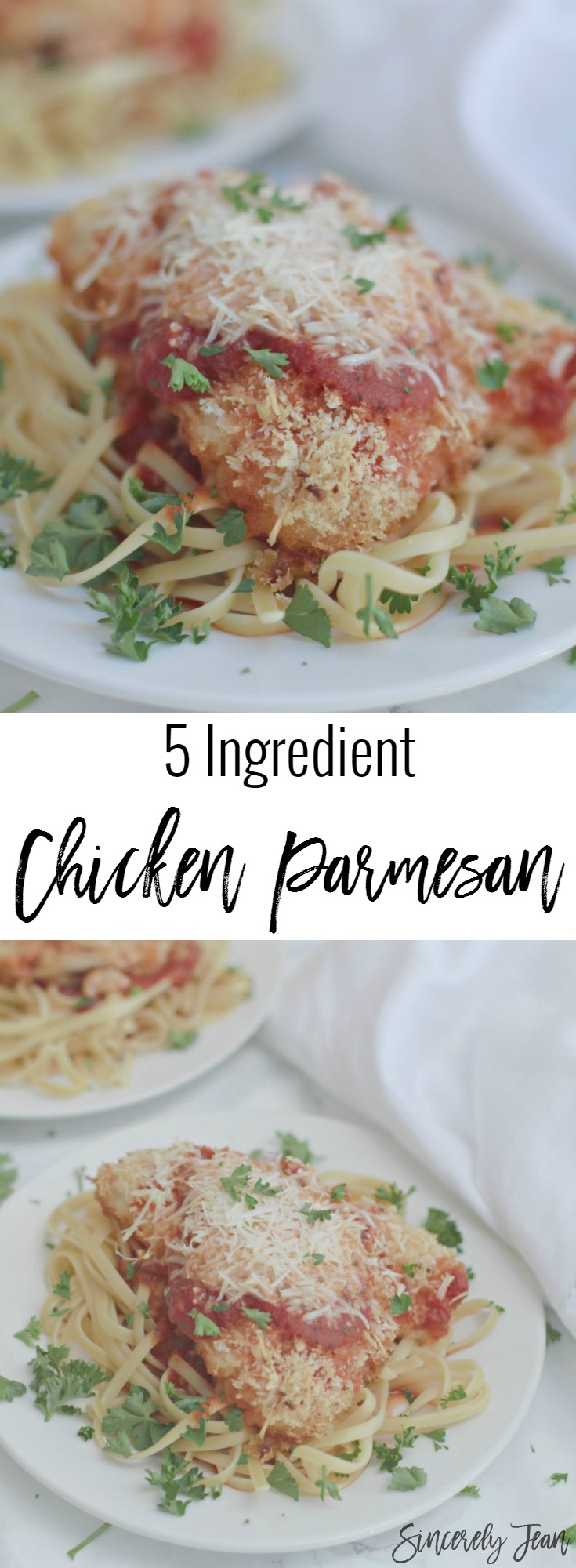 Healthy Chicken Parmesan - Chicken Parmesan - 5 Ingredient Dinner Recipe - Baked Chicken Parmesan - Chicken Parmesan recipe | www.SincerelyJean.com
