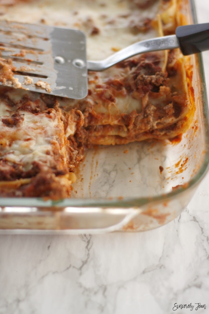 SincerelyJean.com five ingredient lasagna - check out all of our five ingredient recipes!