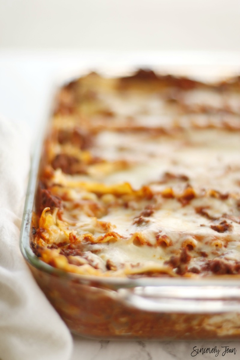 SincerelyJean.com easy lasagna dinner - 5 ingredients