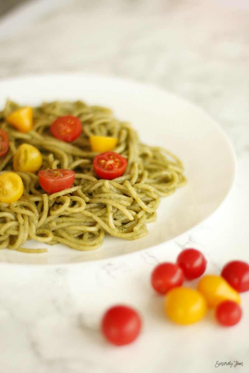 SincerelyJean.com five ingredient healthy recipe - simple avocado pasta