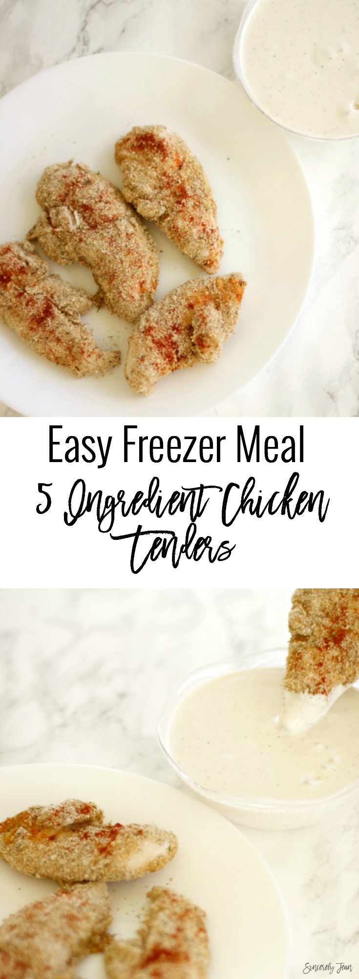 Simple dinner recipes by SincerelyJean.com: 5 ingredient chicken fingers!