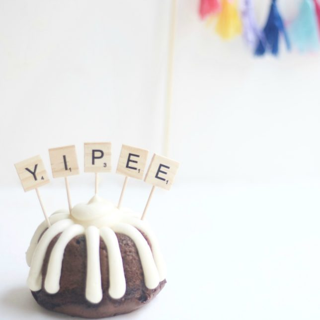 DIY Scrabble Letter Cake Toppers
