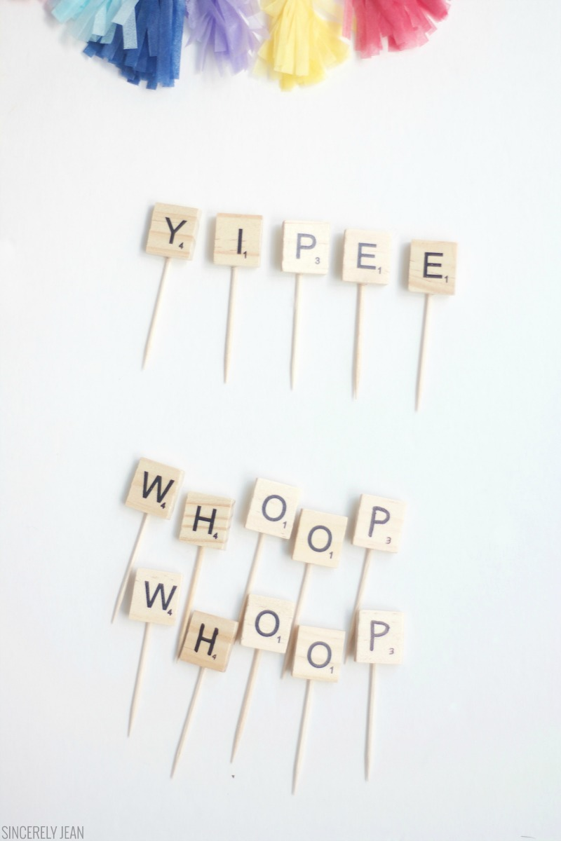 DIY Scrabble Letter Cake Toppers Birthday rustic party cake easy cheap