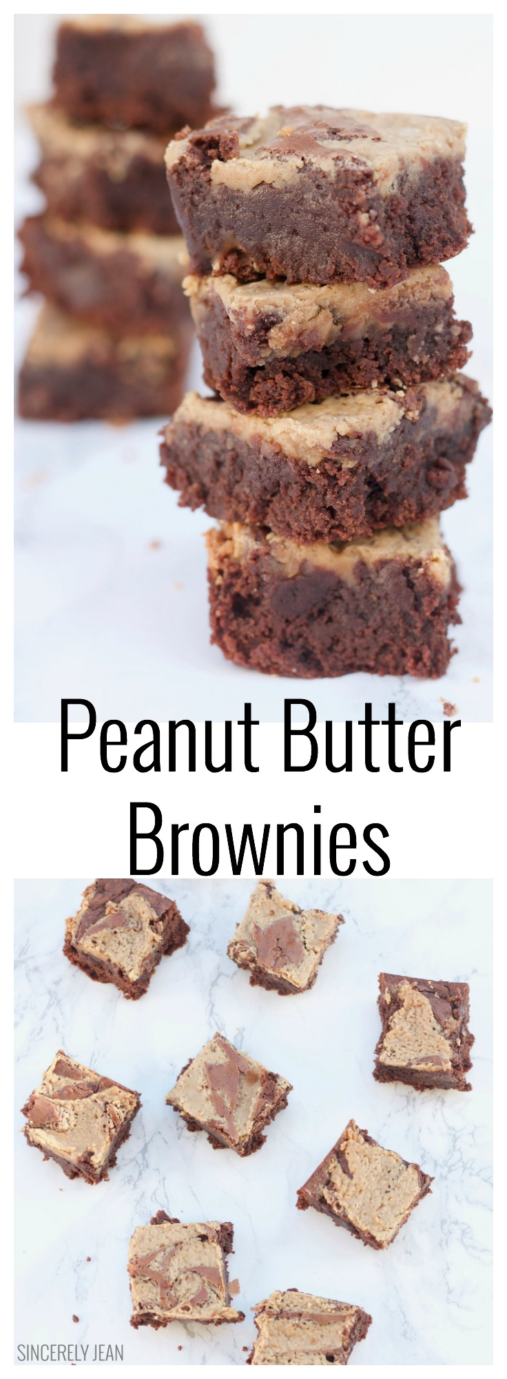 Peanut Butter Brownies - homemade - easy - simple - chocolate - dessert - recipe