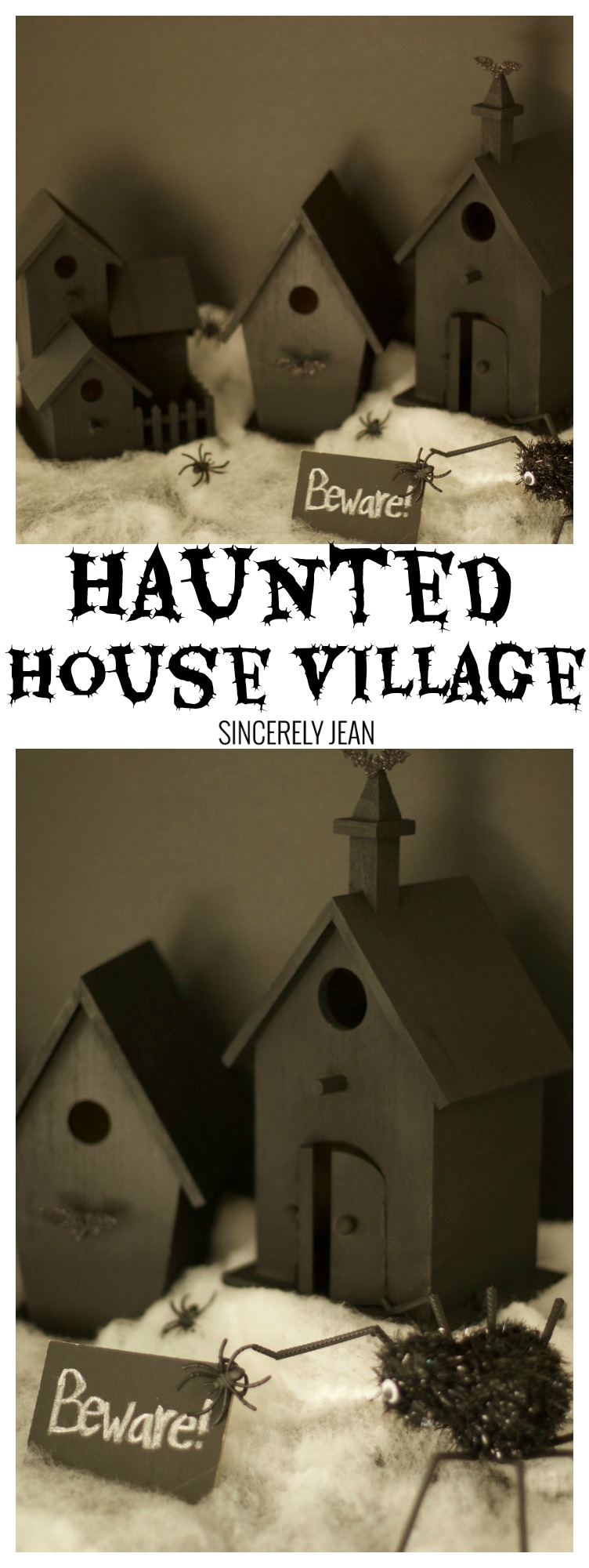 Haunted House Village - halloween - spooky - diy - Craft - scary - haunted - holiday - decoration