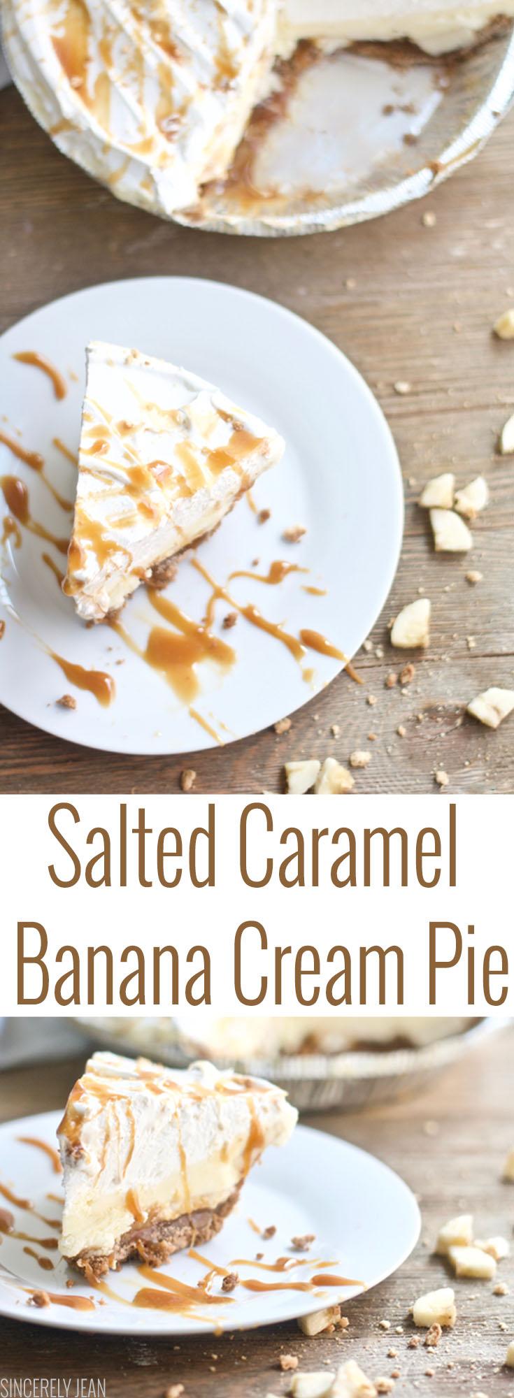 Salted Caramel Banana Cream Pie homemade, easy, pudding, pie, fall, thanksgiving, baking, dessert, recipe