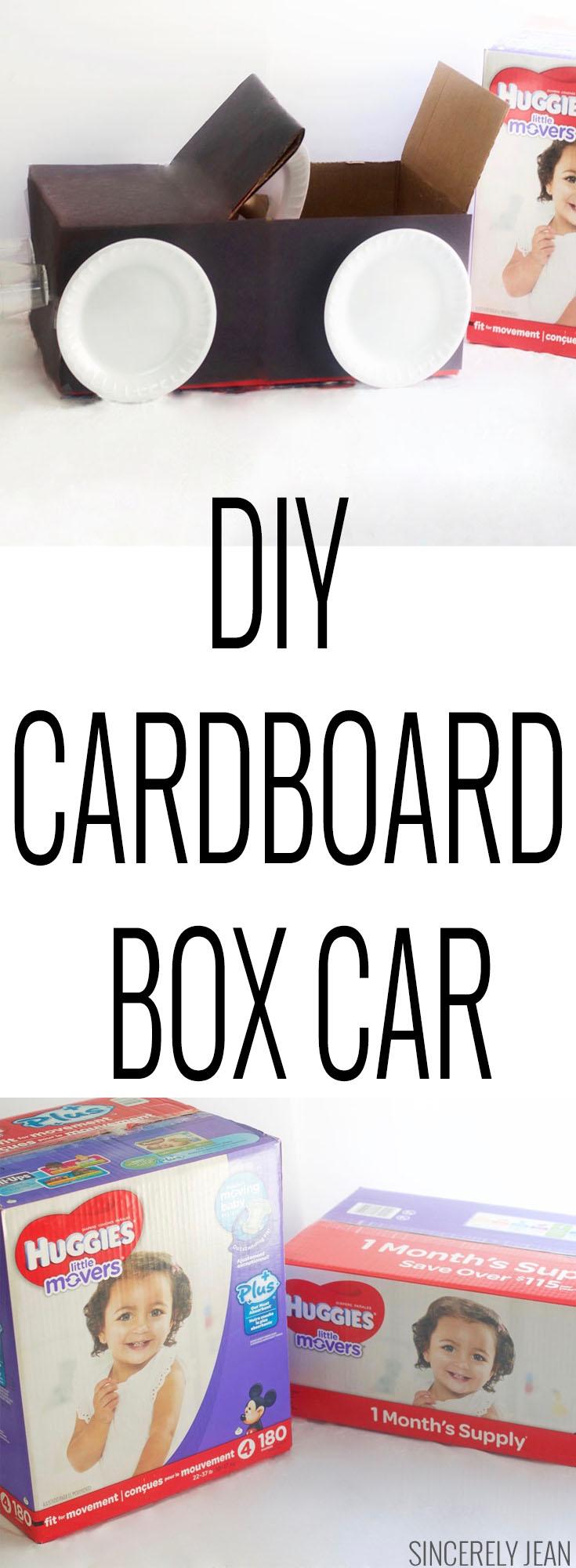 DIY cardboard box car.