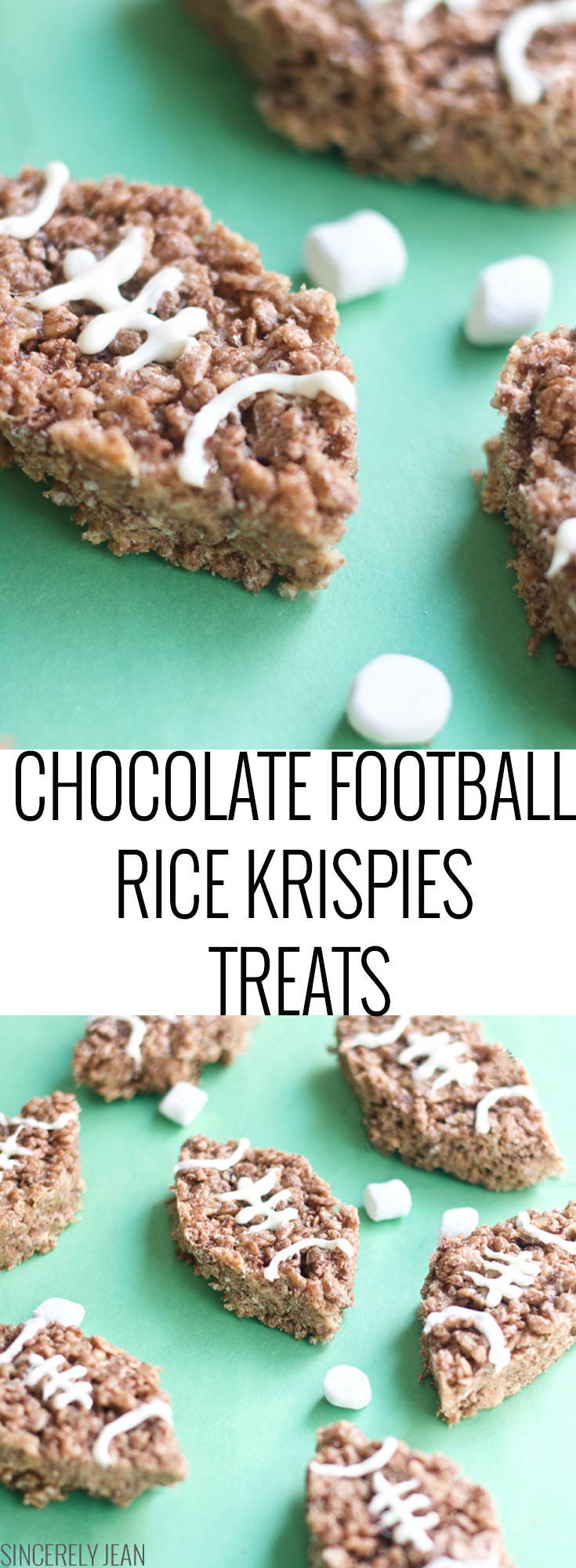 Chocolate Football Rice Krispies Treats, Rice Krispies Treats, Super Bowl, dessert, football, chocolate, game, marshmallows, diy, easy, simple
