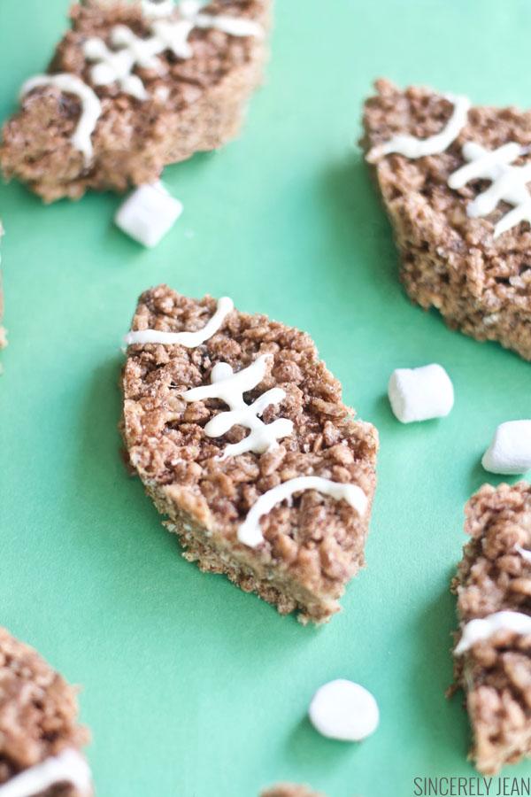 Chocolate Football Rice Krispies Treats, Rice Krispies Treats, dessert, football, chocolate, game, marshmallows, diy, easy, simple, Super Bowl