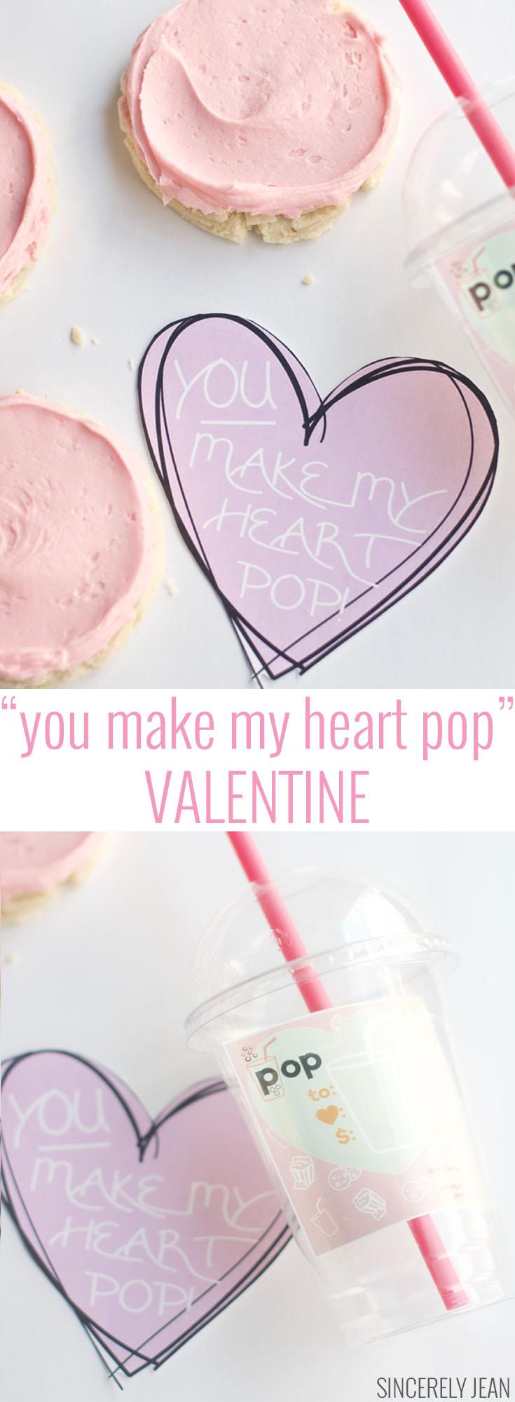 You make my heart pop valentine, Valentines day, free printable, printable, free, soda, swig, cookie, dessert, valentine dessert